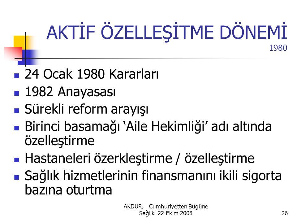 AKTİF ÖZELLEŞİTME DÖNEMİ 1980