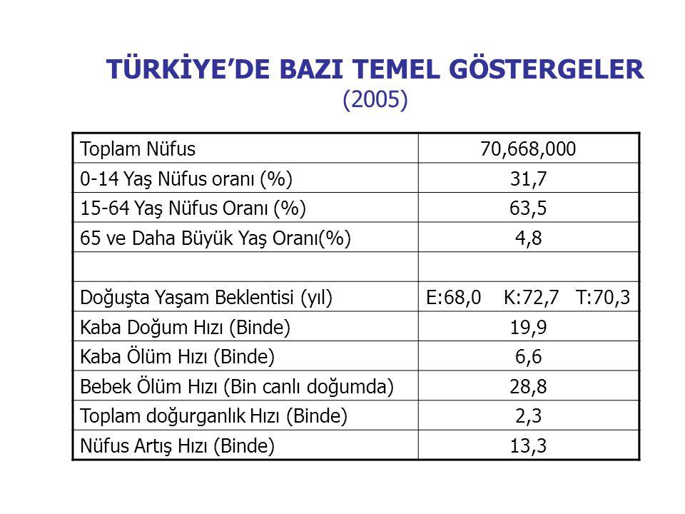 TÜRKİYE'DE BAZI TEMEL GÖSTERGELER (2005)
