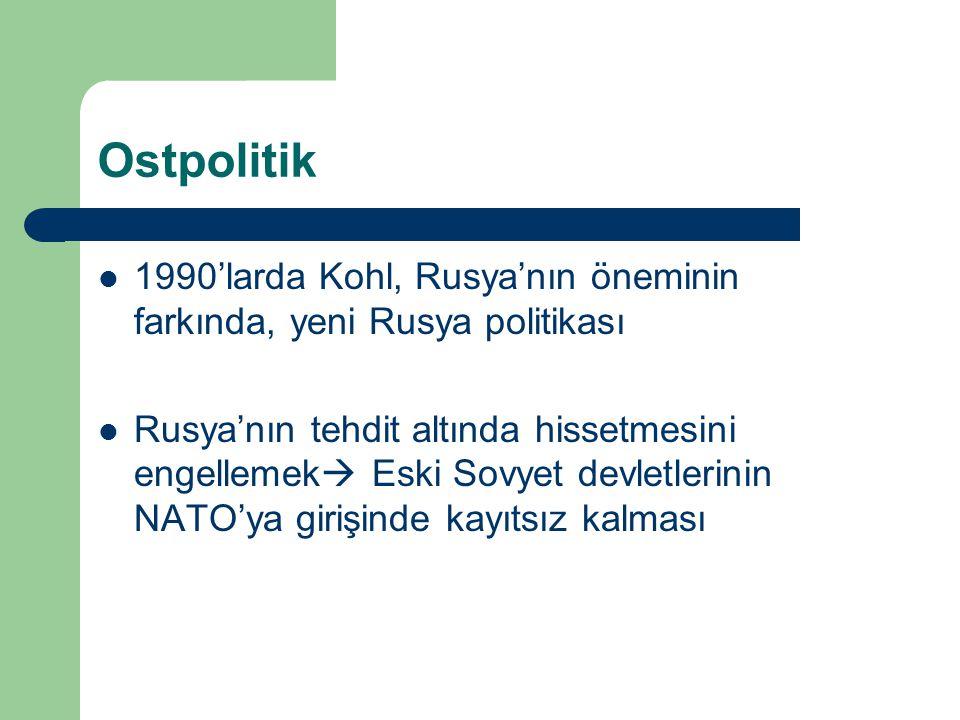 Ostpolitik 1990'larda Kohl, Rusya'nın öneminin farkında, yeni Rusya politikası.