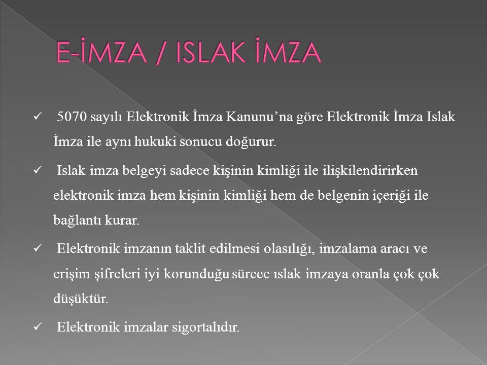 E-İMZA / ISLAK İMZA 5070 sayılı Elektronik İmza Kanunu'na göre Elektronik İmza Islak İmza ile aynı hukuki sonucu doğurur.