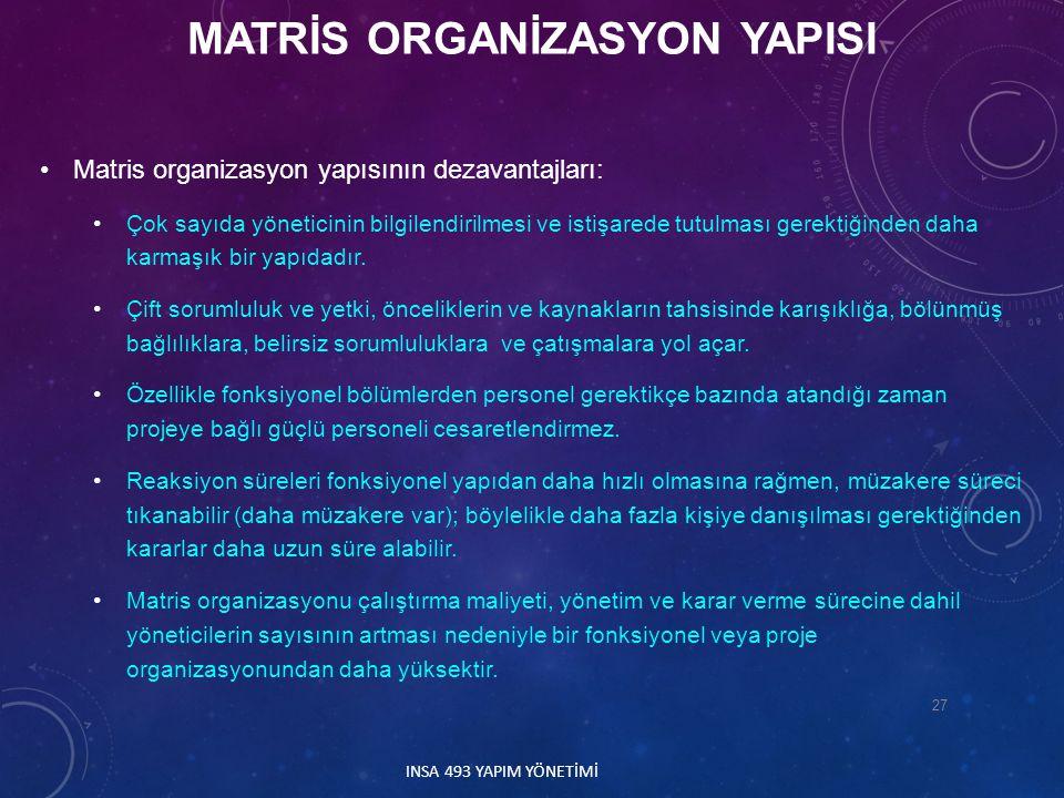 MATRİS ORGANİZASYON YAPISI
