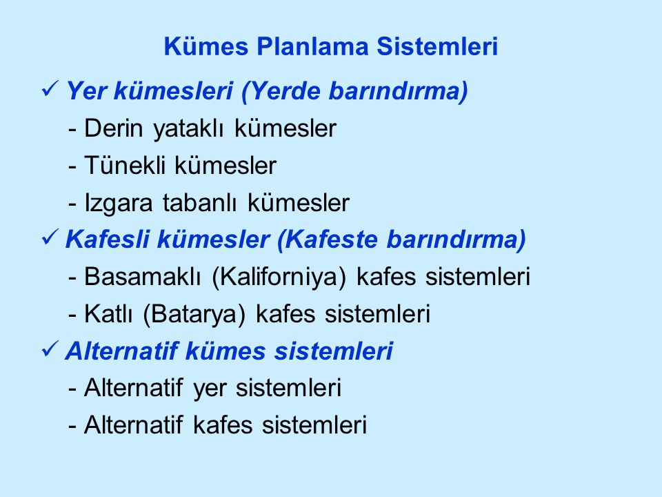 Kümes Planlama Sistemleri