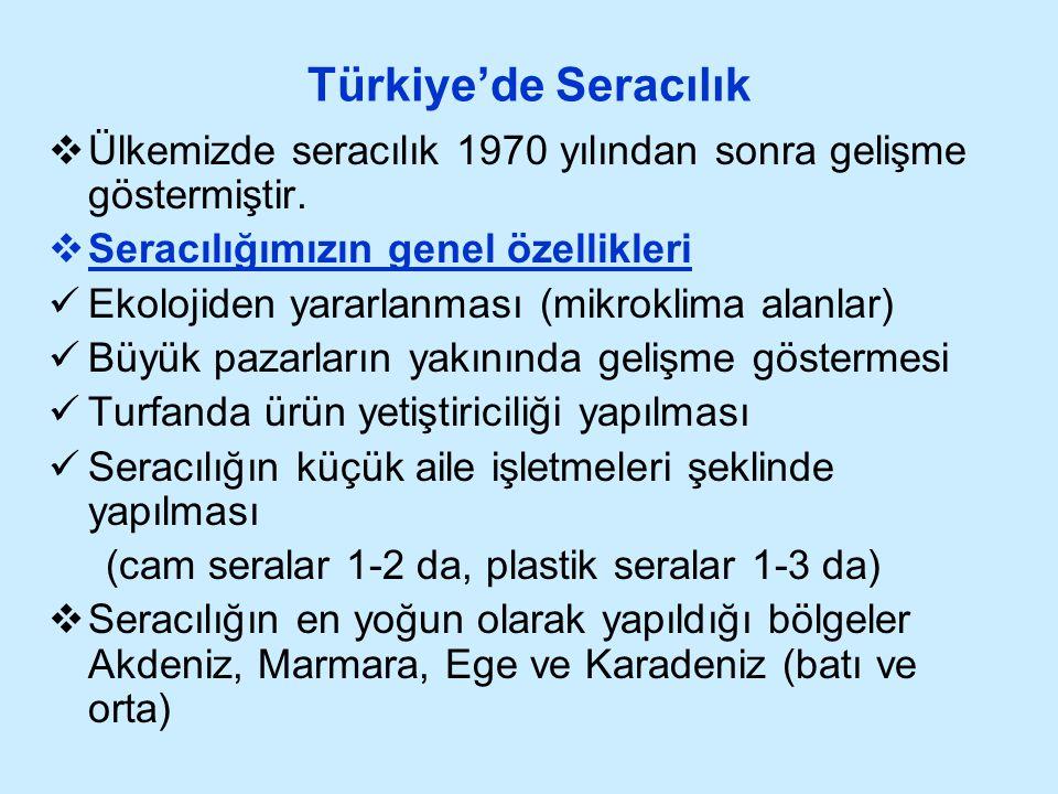 Türkiye'de Seracılık Ülkemizde seracılık 1970 yılından sonra gelişme göstermiştir. Seracılığımızın genel özellikleri.