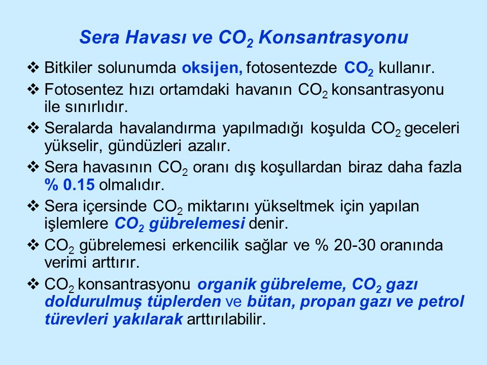Sera Havası ve CO2 Konsantrasyonu
