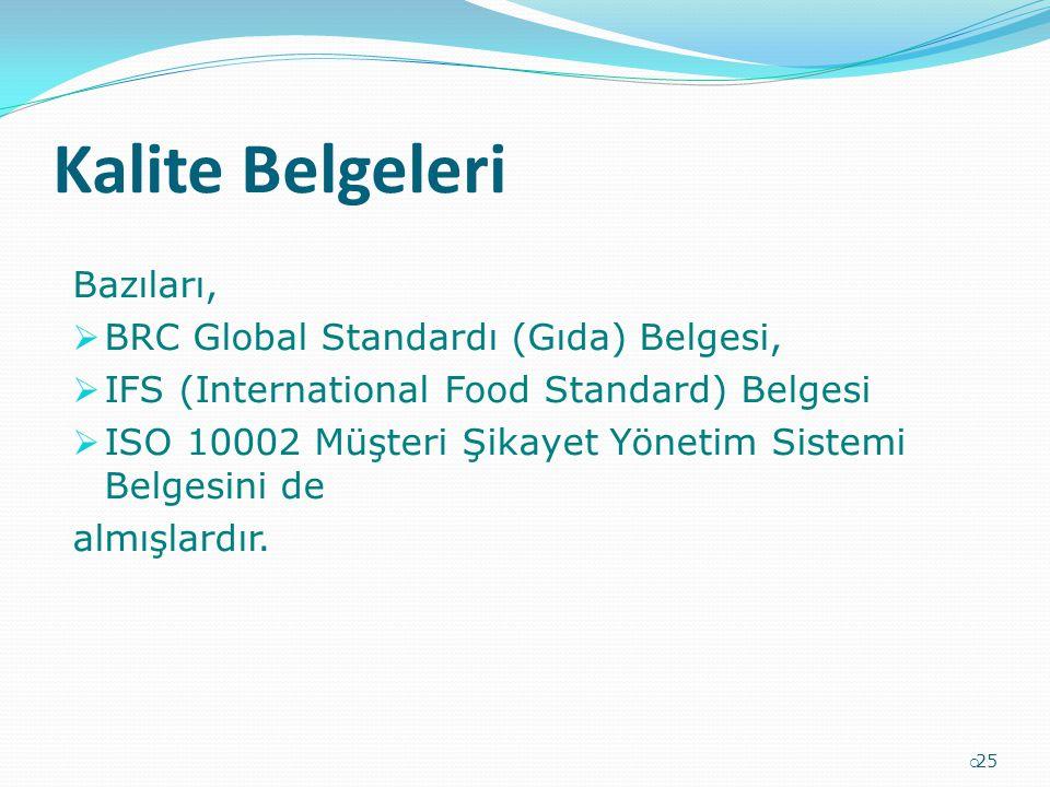 Kalite Belgeleri Bazıları, BRC Global Standardı (Gıda) Belgesi,