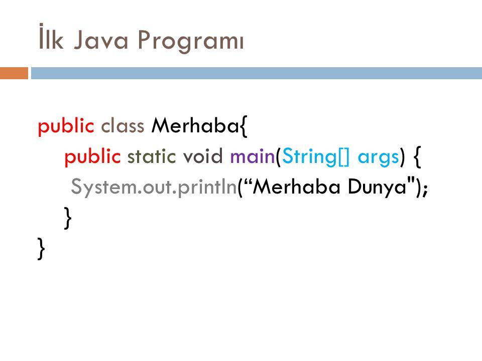 İlk Java Programı public class Merhaba{