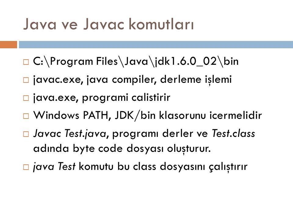 Java ve Javac komutları