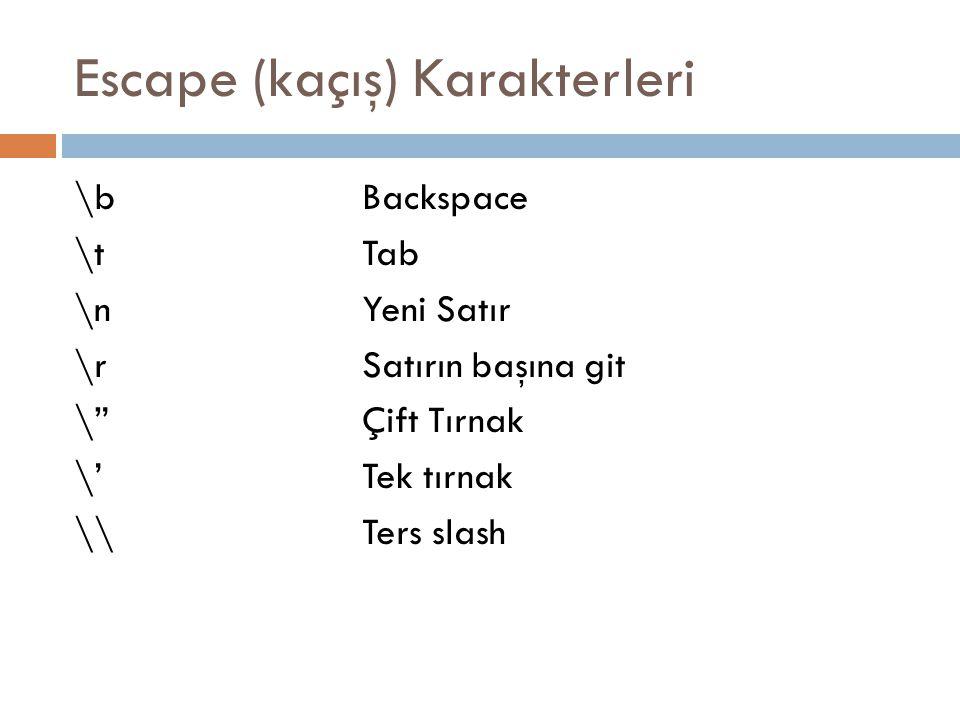 Escape (kaçış) Karakterleri