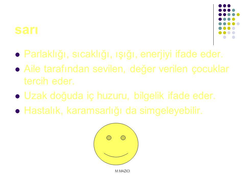 sarı Parlaklığı, sıcaklığı, ışığı, enerjiyi ifade eder.