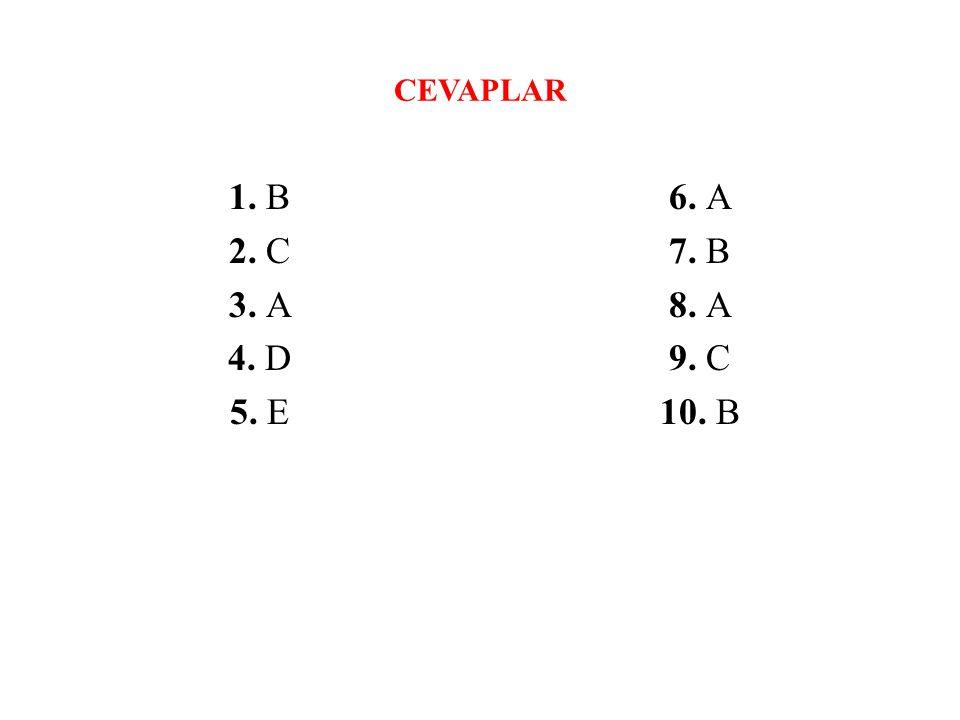 CEVAPLAR 1. B 2. C 3. A 4. D 5. E 6. A 7. B 8. A 9. C 10. B