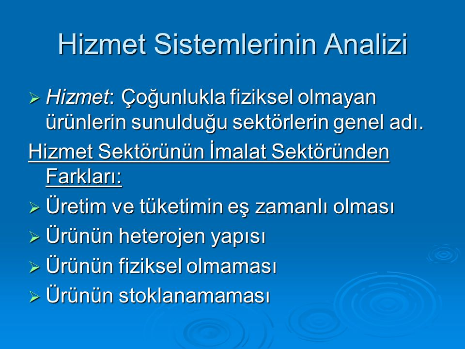 Hizmet Sistemlerinin Analizi