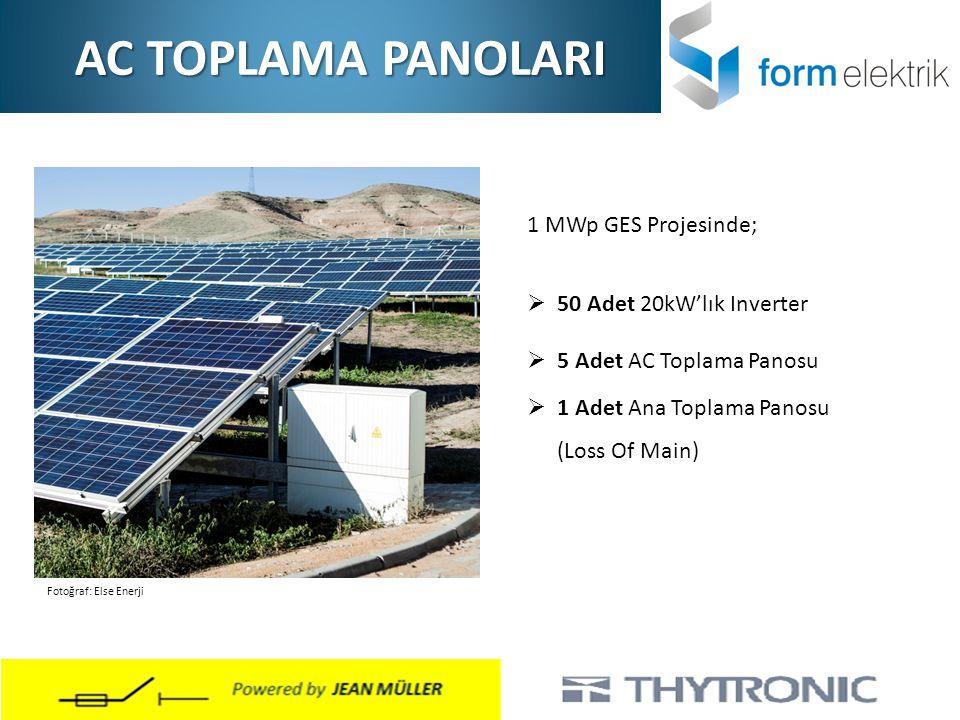 AC TOPLAMA PANOLARI 1 MWp GES Projesinde; 50 Adet 20kW'lık Inverter