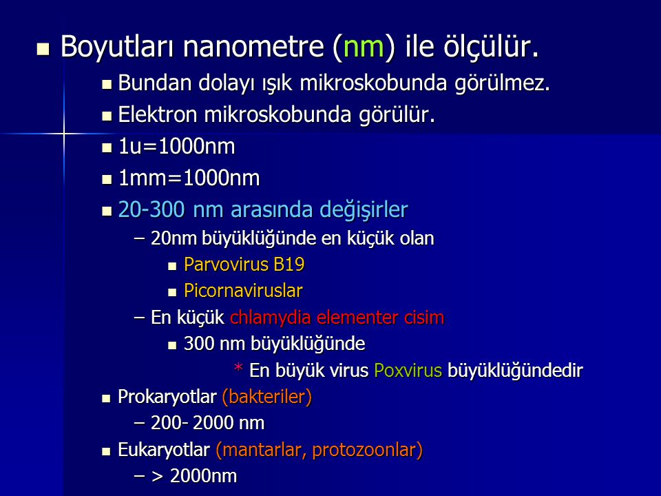 Boyutları nanometre (nm) ile ölçülür.
