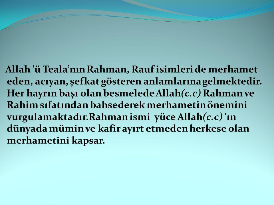 Allah ü Teala'nın Rahman, Rauf isimleri de merhamet eden, acıyan, şefkat gösteren anlamlarına gelmektedir.