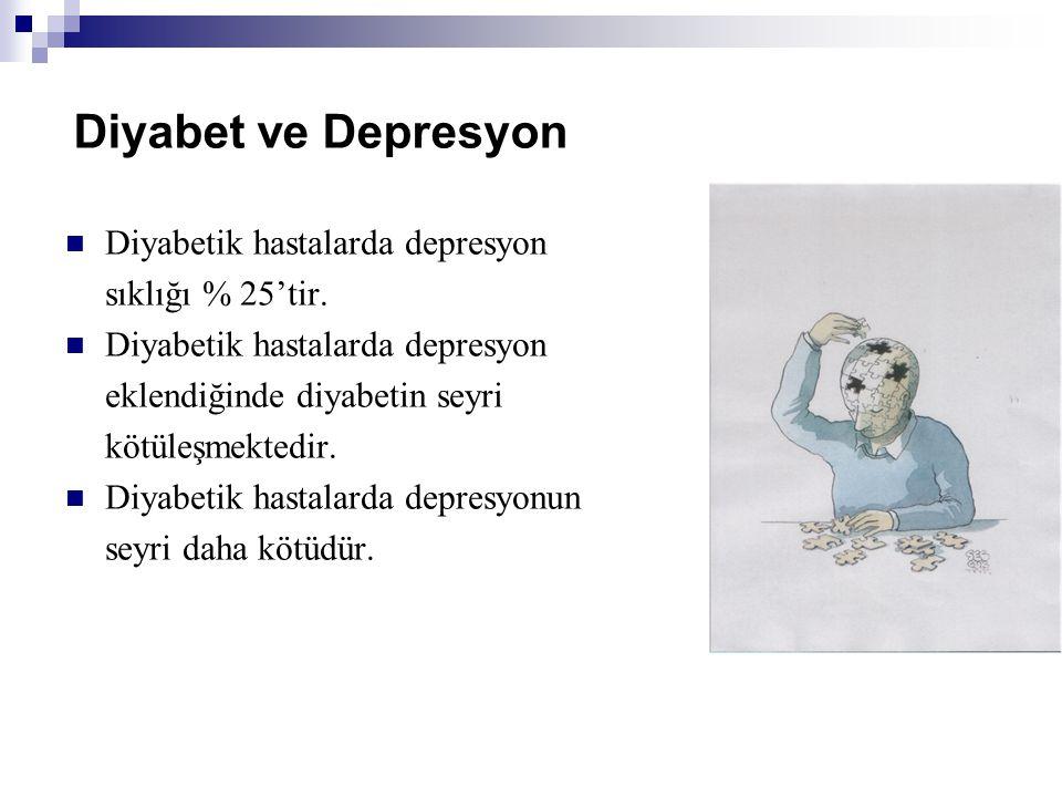 Diyabet ve Depresyon Diyabetik hastalarda depresyon sıklığı % 25'tir.