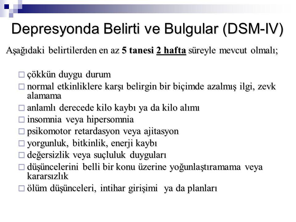 Depresyonda Belirti ve Bulgular (DSM-IV)