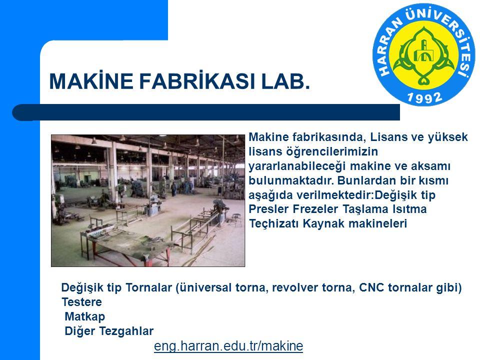 MAKİNE FABRİKASI LAB. eng.harran.edu.tr/makine