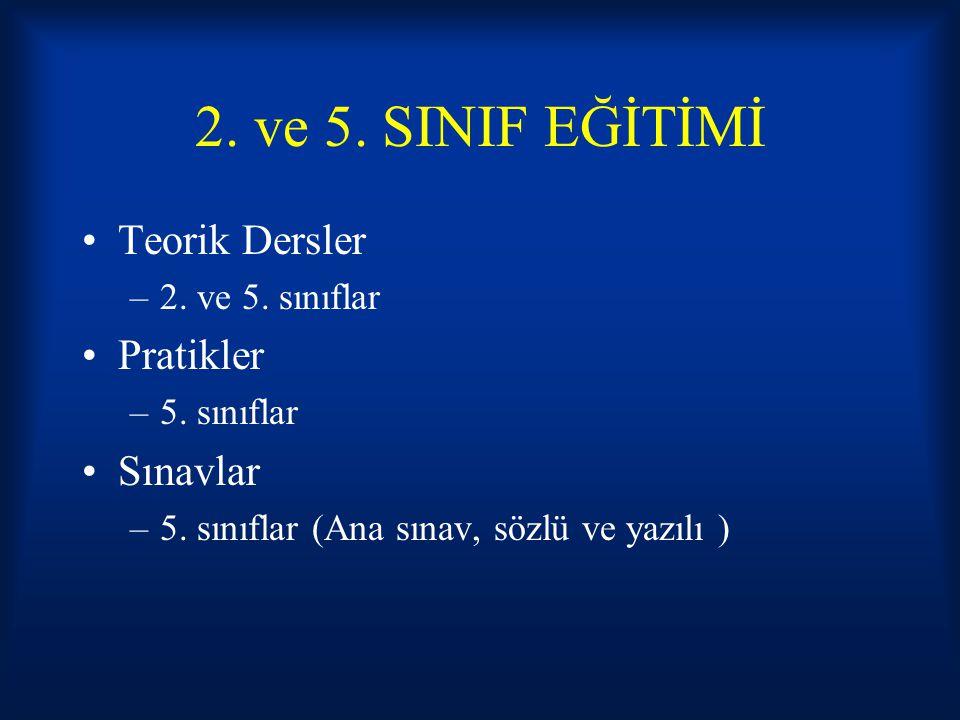 2. ve 5. SINIF EĞİTİMİ Teorik Dersler Pratikler Sınavlar