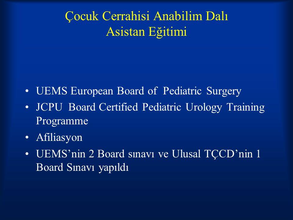 Çocuk Cerrahisi Anabilim Dalı Asistan Eğitimi