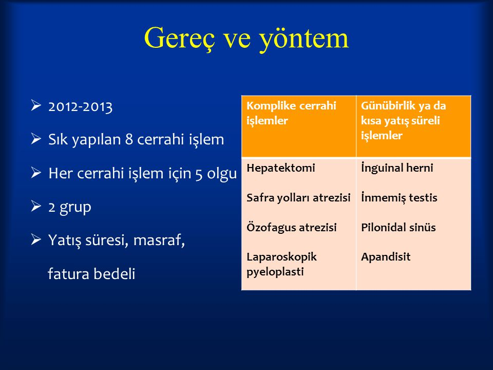 Gereç ve yöntem 2012-2013 Sık yapılan 8 cerrahi işlem