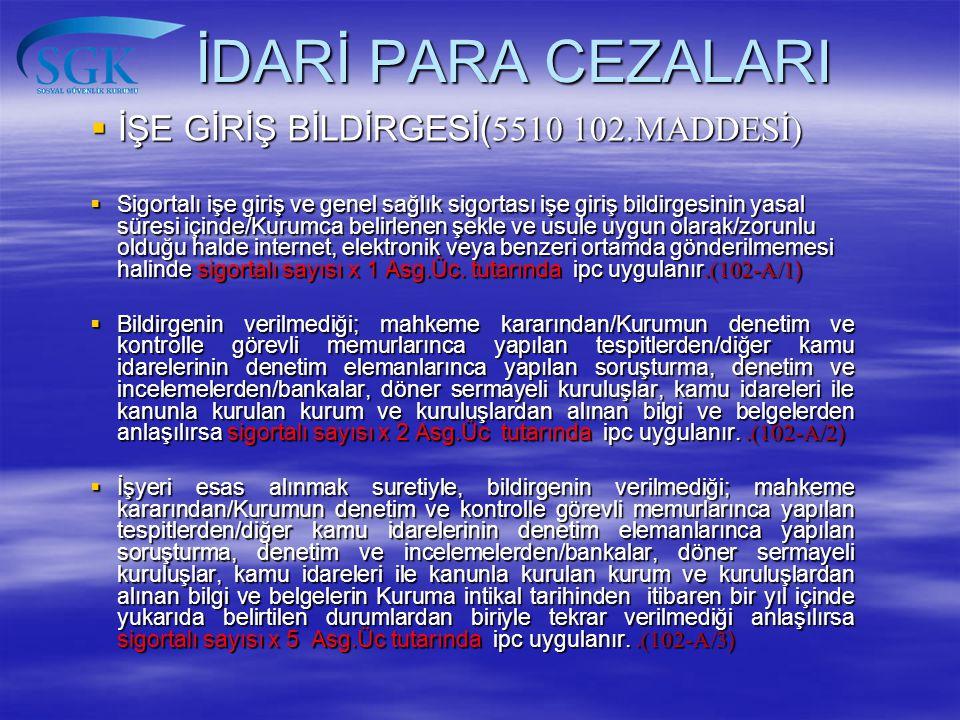 İDARİ PARA CEZALARI İŞE GİRİŞ BİLDİRGESİ(5510 102.MADDESİ)