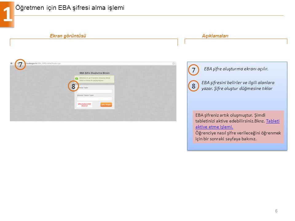 Öğretmen için EBA şifresi alma işlemi