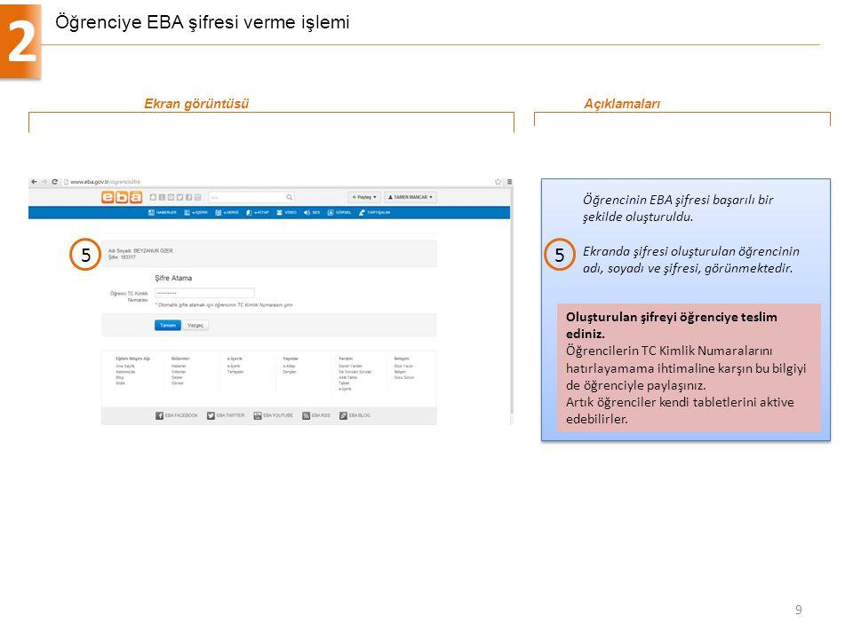 Öğrenciye EBA şifresi verme işlemi