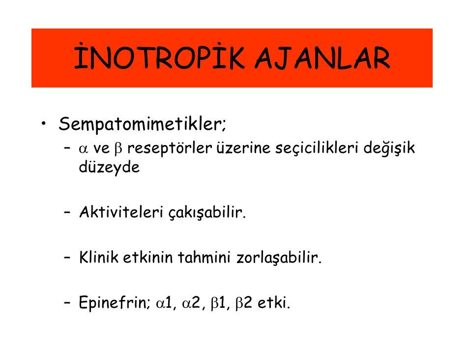 İNOTROPİK AJANLAR Sempatomimetikler;