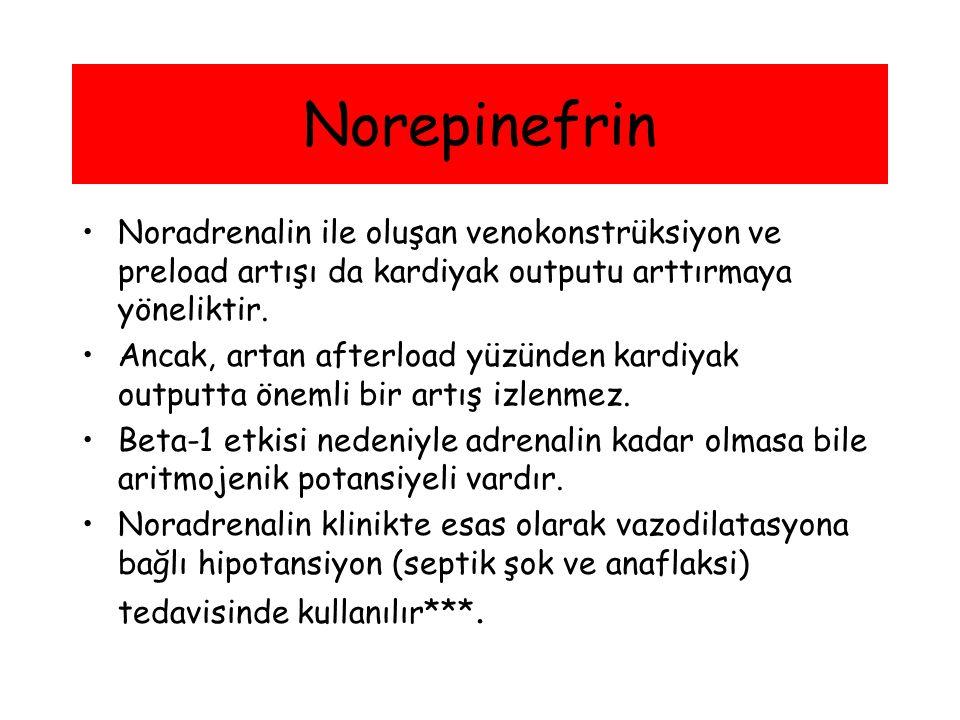 Norepinefrin Noradrenalin ile oluşan venokonstrüksiyon ve preload artışı da kardiyak outputu arttırmaya yöneliktir.
