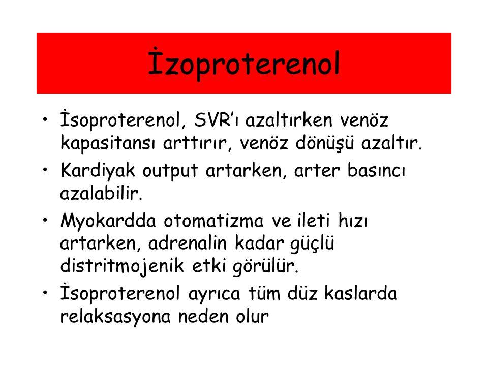 İzoproterenol İsoproterenol, SVR'ı azaltırken venöz kapasitansı arttırır, venöz dönüşü azaltır. Kardiyak output artarken, arter basıncı azalabilir.
