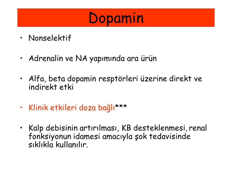 Dopamin Nonselektif Adrenalin ve NA yapımında ara ürün