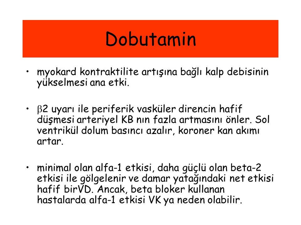 Dobutamin myokard kontraktilite artışına bağlı kalp debisinin yükselmesi ana etki.