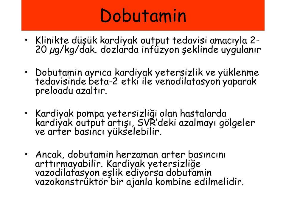 Dobutamin Klinikte düşük kardiyak output tedavisi amacıyla 2-20 µg/kg/dak. dozlarda infüzyon şeklinde uygulanır.