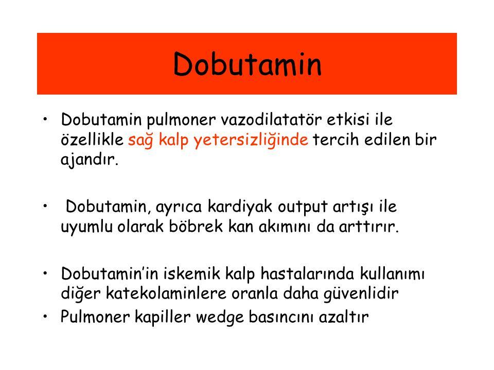 Dobutamin Dobutamin pulmoner vazodilatatör etkisi ile özellikle sağ kalp yetersizliğinde tercih edilen bir ajandır.