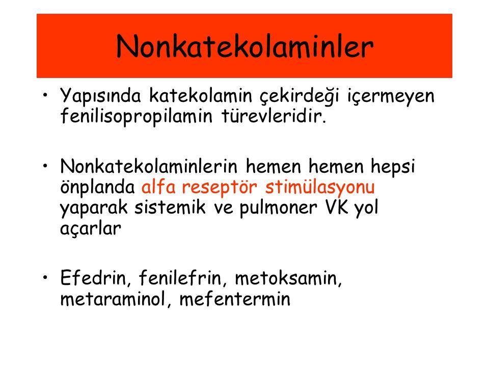 Nonkatekolaminler Yapısında katekolamin çekirdeği içermeyen fenilisopropilamin türevleridir.
