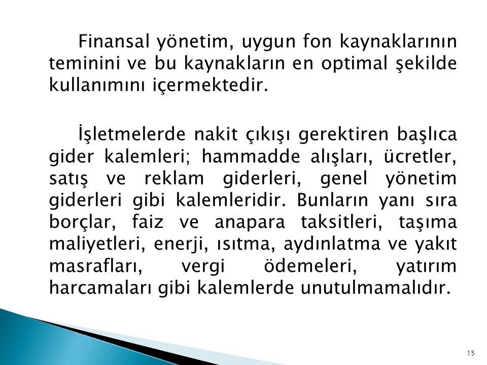 Finansal yönetim, uygun fon kaynaklarının teminini ve bu kaynakların en optimal şekilde kullanımını içermektedir.