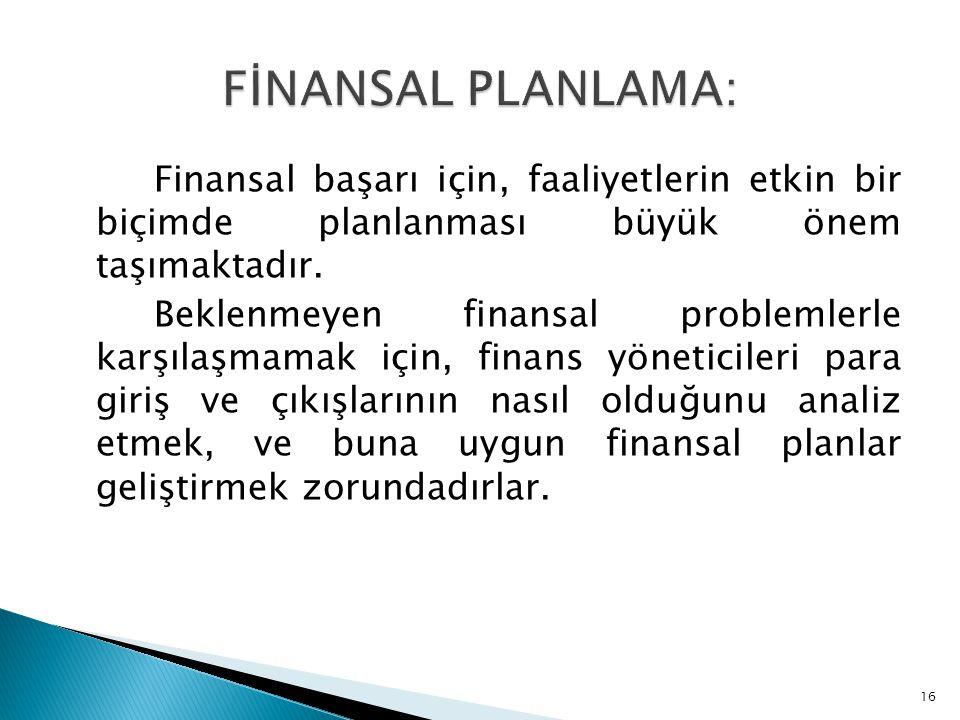 FİNANSAL PLANLAMA: