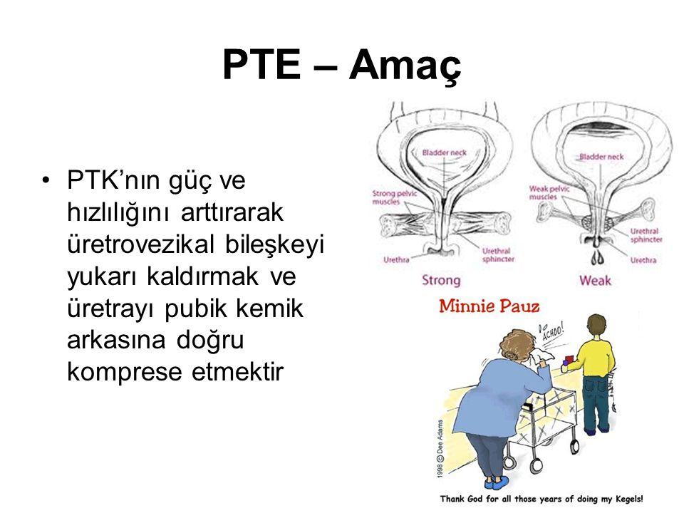 PTE – Amaç PTK'nın güç ve hızlılığını arttırarak üretrovezikal bileşkeyi yukarı kaldırmak ve üretrayı pubik kemik arkasına doğru komprese etmektir.