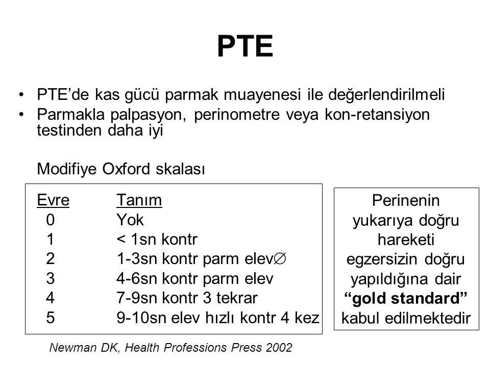 PTE PTE'de kas gücü parmak muayenesi ile değerlendirilmeli