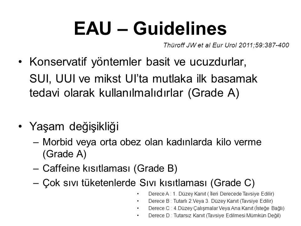 EAU – Guidelines Konservatif yöntemler basit ve ucuzdurlar,