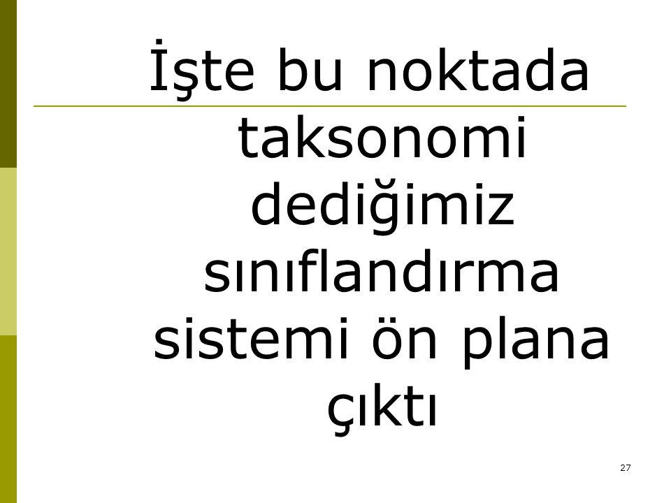 İşte bu noktada taksonomi dediğimiz sınıflandırma sistemi ön plana çıktı