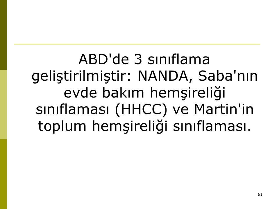 ABD de 3 sınıflama geliştirilmiştir: NANDA, Saba nın evde bakım hemşireliği sınıflaması (HHCC) ve Martin in toplum hemşireliği sınıflaması.