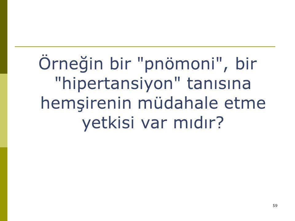 Örneğin bir pnömoni , bir hipertansiyon tanısına hemşirenin müdahale etme yetkisi var mıdır