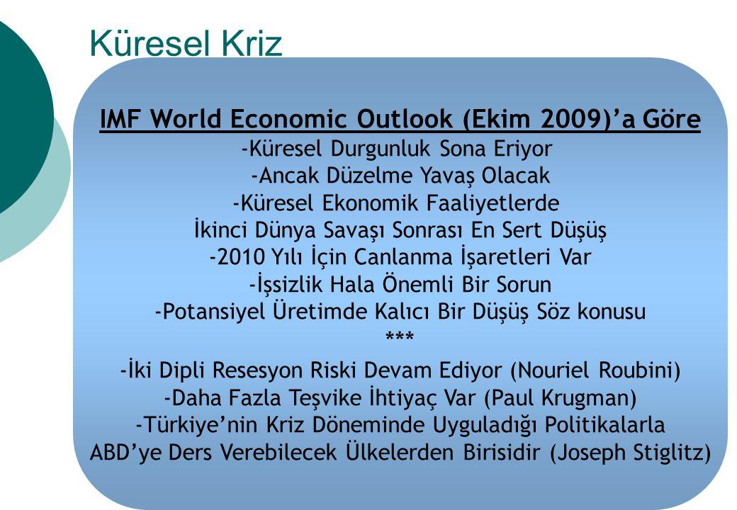 IMF World Economic Outlook (Ekim 2009)'a Göre