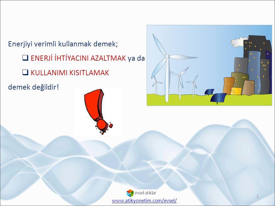 Enerjiyi verimli kullanmak demek; ENERJİ İHTİYACINI AZALTMAK ya da