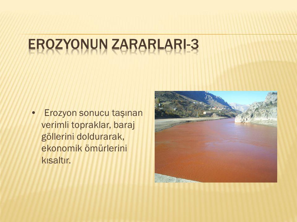 EROZYONUN ZARARLARI-3 • Erozyon sonucu taşınan verimli topraklar, baraj göllerini doldurarak, ekonomik ömürlerini kısaltır.