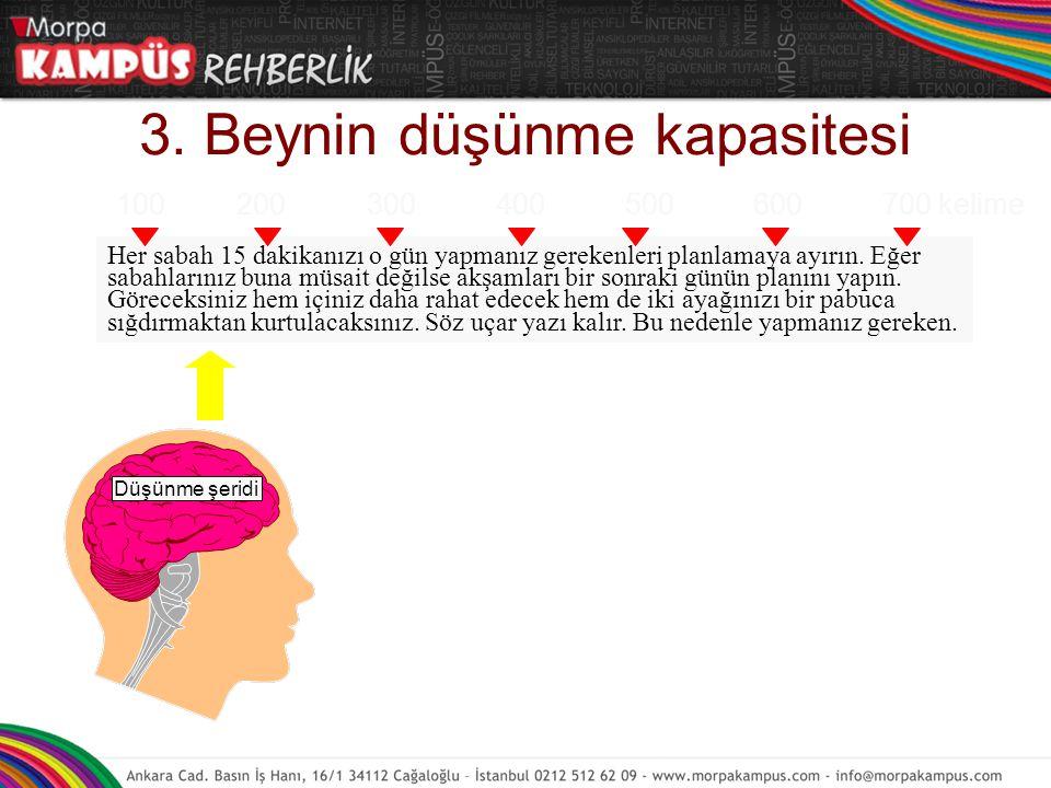 3. Beynin düşünme kapasitesi