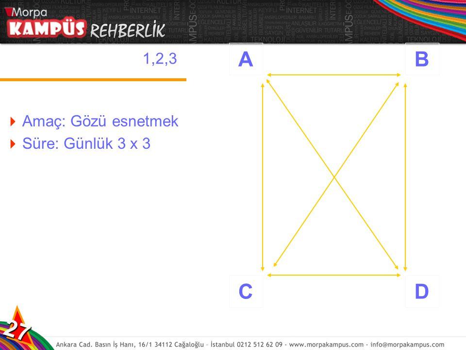 A B C D 1,2,3 Amaç: Gözü esnetmek Süre: Günlük 3 x 3 27