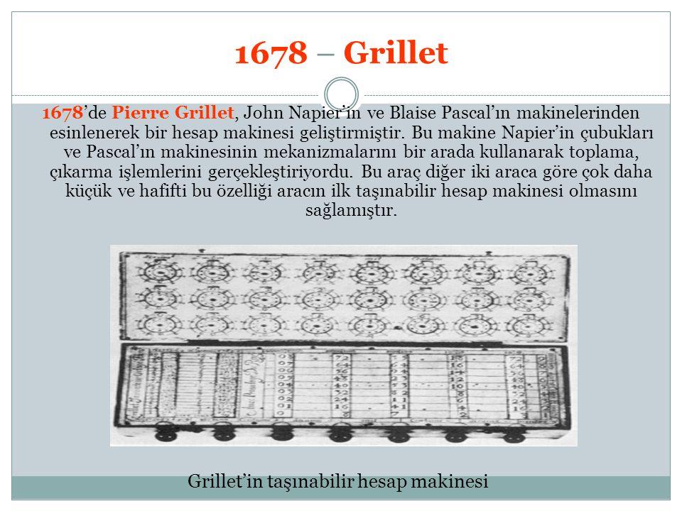 Grillet'in taşınabilir hesap makinesi
