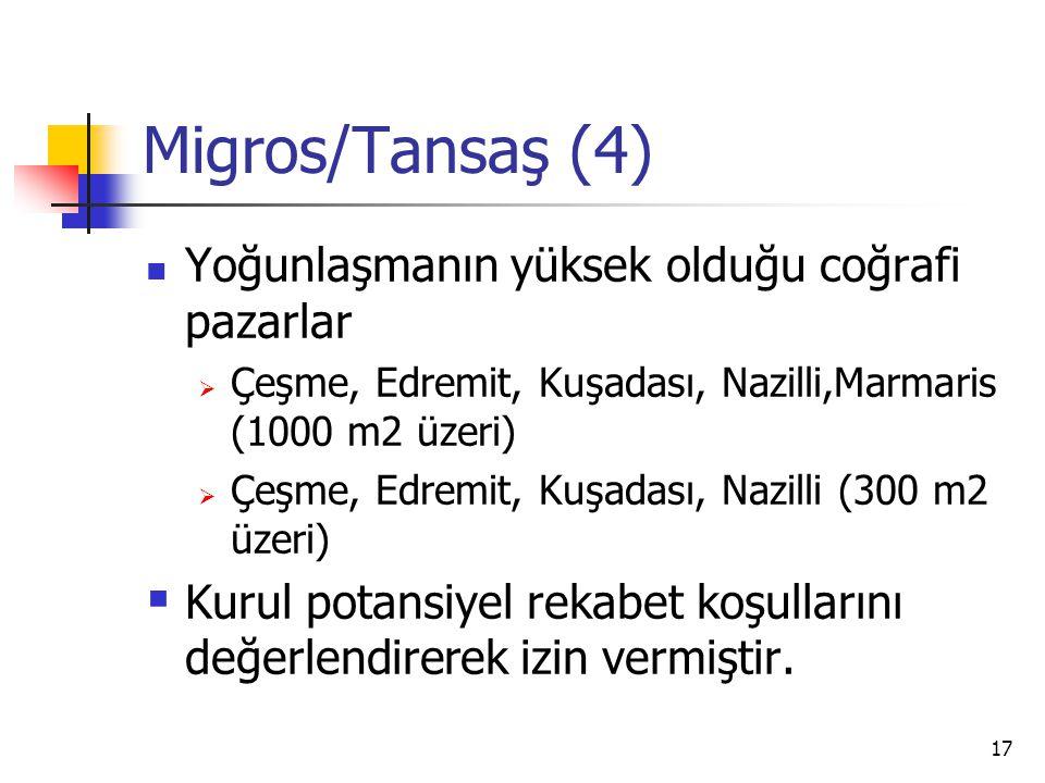 Migros/Tansaş (4) Yoğunlaşmanın yüksek olduğu coğrafi pazarlar